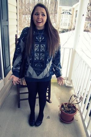 blue borrowed sweater - black Marshalls tights - black borrowed flats shoes - bl