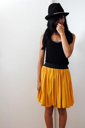 black fedora Roxy hat - yellow DIY skirt - black burnout tank Forever 21 top