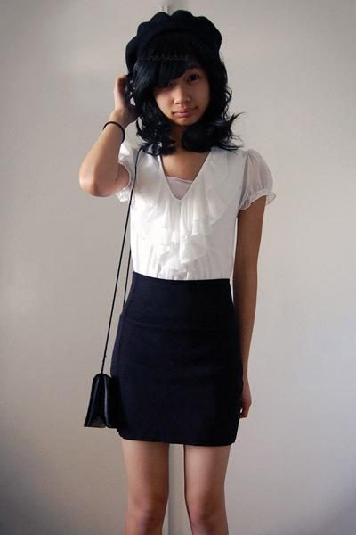 Black Skirt White Blouse 71