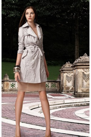 beige banana republic coat - nude Mango dress - Wet Seal accessories