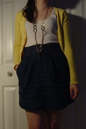 H&M sweater - Bluenotes shirt - Lux skirt - forever 21 necklace - Payless Shoeso