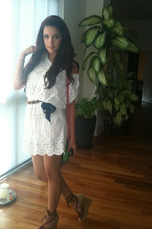 white crochet-lace dress - chartreuse bag