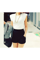 heather gray grey blazer blazer - black shorts - white white top top