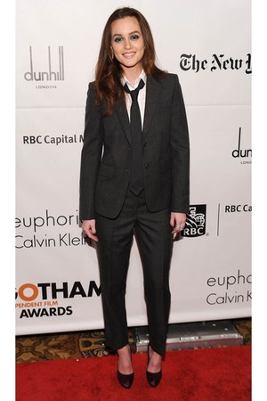 black Thom Browne suit - deep purple ferragamo heels