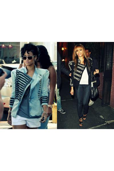 navy dark blue jeans jeans - black jacket - sky blue jacket - white white shorts