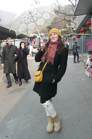black coat - mustard hat - ruby red scarf - cream socks - heather gray cardigan