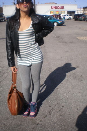 Wilson via Thrift jacket - Hollister Leggins pants - H&amp;M purse - adidas shoes - 
