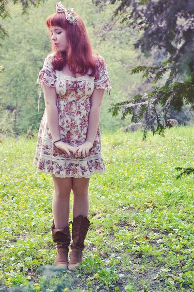 dark brown Zara boots - ivory Liz Lisa dress - red Accessorize accessories