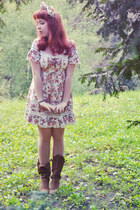 dark brown Zara boots - ivory Liz Lisa dress - red Accessorize accessories