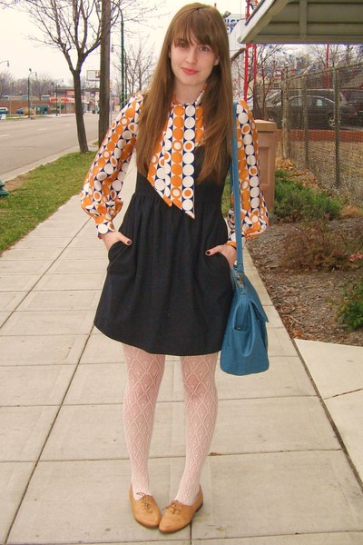 vintage shirt - Urban Outfitters dress - Forever 21 tights - vintage shoes - Urb
