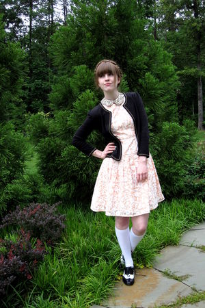 black Forever 21 shoes - pink vintage dress - black Urban Outfitters blazer