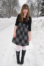 thrifted dress - Target tights - Steve Madden boots