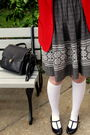 Red-pendleton-thrifted-blazer-gray-vintage-dress-white-target-socks-black-