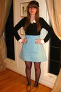 Brown-vintage-shoes-black-forever-21-tights-blue-vintage-skirt-black-thrif
