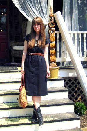 black thrifted vintage dress - brown thrifted belt - black thrifted boots - gold
