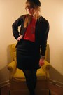 Red-vintage-thrifted-blouse-black-banana-republic-skirt-black-vintage-hat-