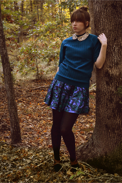 blue thrifted vintage sweater - blue co modcloth dress - blue Target tights - br