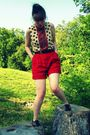 Red-vintage-thrifted-shorts-white-vintage-blouse-black-target-accessories-
