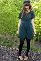 blue vintage hat - brown thrifted vintage shoes - green thrifted vintage dress