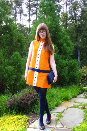 orange vintage via estate sale dress - blue thrifted vintage purse - blue Target