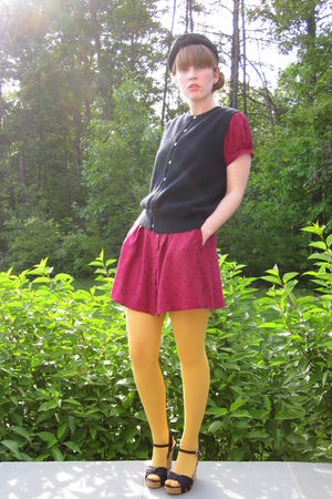 gold American Apparel stockings - red Urban Outfitters dress - black Nordstrom s