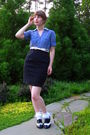 Blue-h-m-dress-black-thrifted-vintage-skirt-white-thrifted-vintage-belt-wh