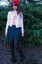 black Target tights - pink thrifted sweater - white H & M t-shirt - silver Forev
