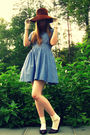 Blue-h-m-dress-white-vintage-gloves-white-target-socks-brown-miz-mooz-shoe