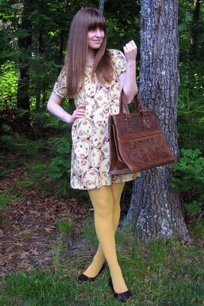 beige Anthropologia dress - gold American Apparel tights - brown miz mooz shoes