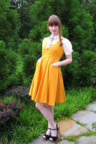 gold Tulle dress - white vintage tie - white vintage blouse - beige H&M socks -