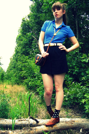 black thrifted shorts - black Forever 21 socks - blue thrifted blouse - brown vi