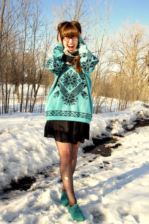 blue thrifted vintage sweater - black Target stockings - blue Urban Outfitters s
