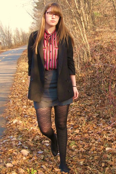 vintage shirt - BB Dakota blazer - Forever 21 skirt - Target tights - Urban Outf