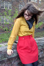 Red-thrifted-vintage-skirt-gold-vintage-shirt-black-steve-madden-boots-bla