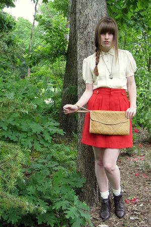 red thrifted vintage skirt - brown thrifted boots - white Target socks - white V