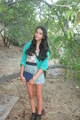 Dark-brown-lace-up-boots-aquamarine-flowy-shorts-teal-printed-sweatshirt