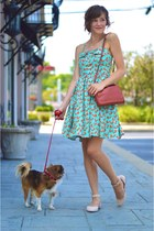 sky blue modcloth dress - burnt orange Forever 21 bag - light pink flats