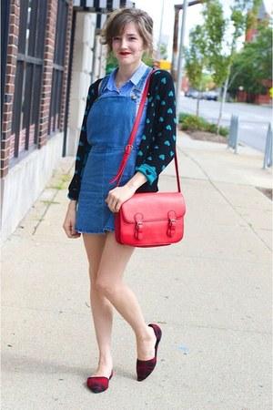 blue jean Forever 21 jumper - light blue H&M shirt - red Forever 21 purse
