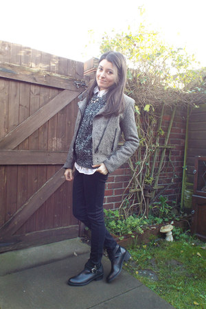 light brown wool H&M jacket - black leather H&M boots