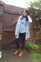 heather gray angora H&M cardigan - black skinny Topshop jeans
