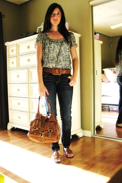 blue decree blouse - Tahari shoes - blue Lei for Wal-Mart jeans - H&amp;M purse