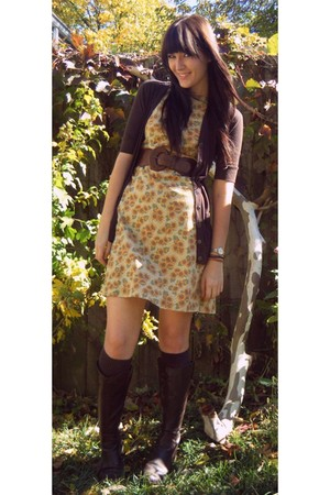 yellow thrifted dress - brown Target cardigan - brown Urban Outfitters belt - br