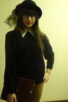 black bowler H&M hat - black thrifted sweater - eggshell Qed London shirt
