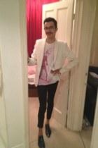 navy Ask the Missus shoes - white Zara blazer - bubble gum Sisley t-shirt