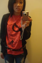 red Old Navy shirt - black Delias cardigan - black Forever 21 belt - blue Discov