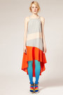 Carrot-orange-dress-sky-blue-gradient-tights-brown-wedges