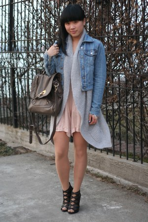 blue denim jacket Triple 5 Soul jacket - light brown soar JustFab bag - light pi