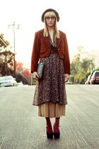 burnt orange suede crop Shoppalu coat - olive green thrifted IGLWU dress