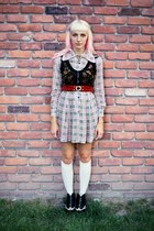 black oxford striped vintage boots - off white plaid vintage dress