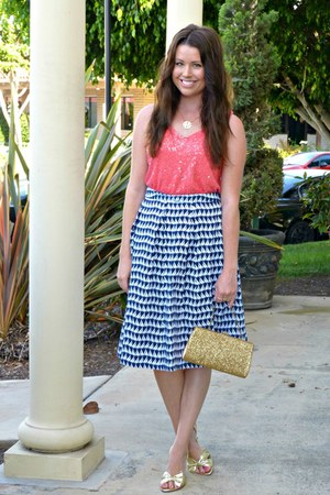 salmon sequined JCrew shirt - sailor Downeast Basics skirt